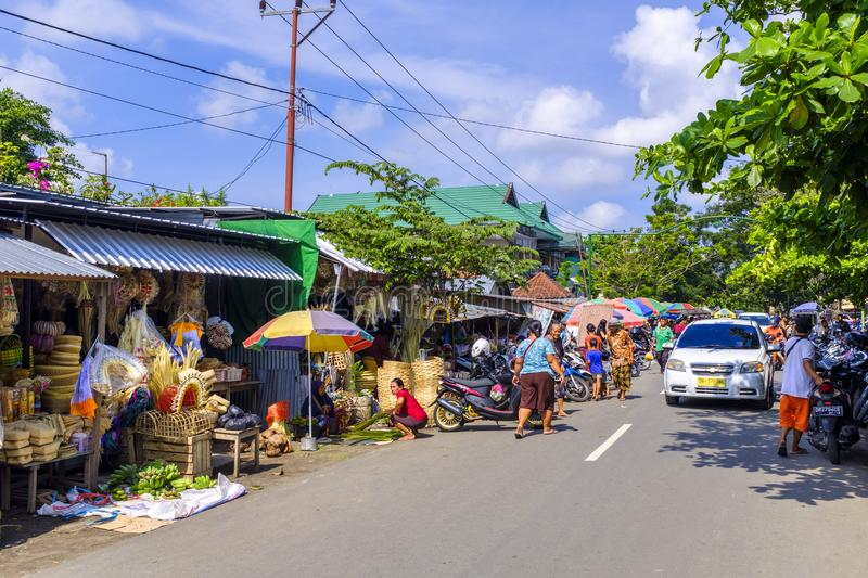 Traditional market in Mataram. A traditional market in streets of Mataram, Lombok, Indonesia stock photography