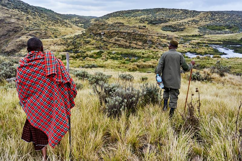 Traditional Masai and Ranger hiking in crater moutain. Hike in Olmoti Crater, near Munge River Ngorongoro Conservation Area Nationnal park Highlands with Masai royalty free stock image