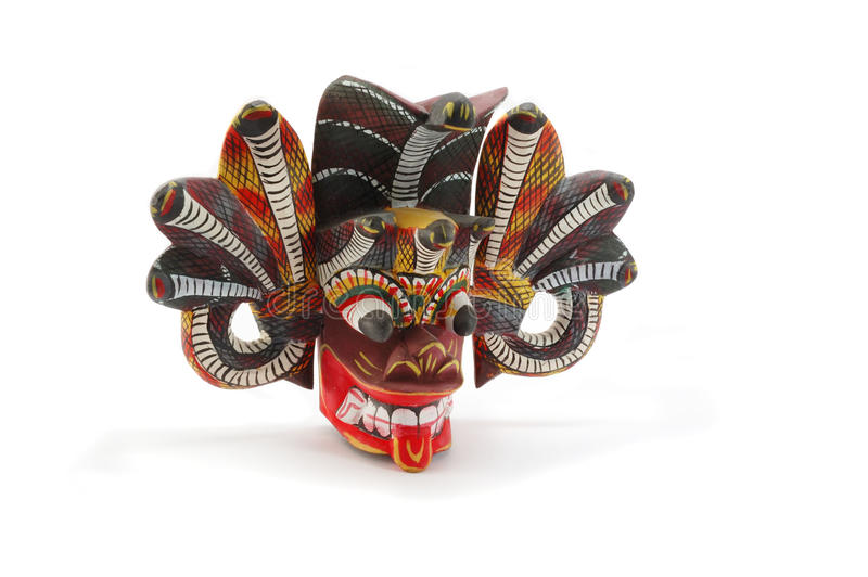Traditional mask of the devil with snakes,Ceylon royalty free stock photos