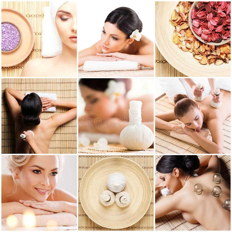 Traditional massage and healthcare treatment in spa. Young, beautiful and healthy girls having recreation therapy. royalty free stock image