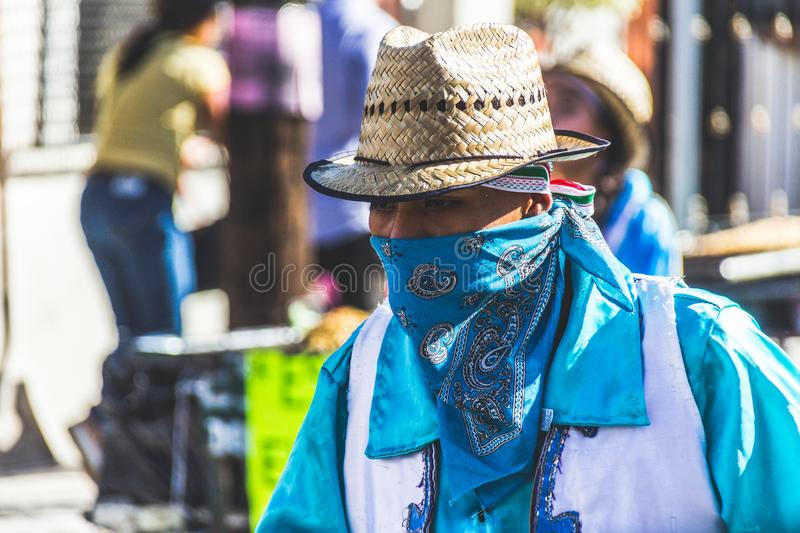 Traditional matachin mexican religious dancers. MONTERREY, NUEVO LEON / MEXICO - 18 12 2017: Mexican traditional matachin dancers in a peregrination to the stock photo