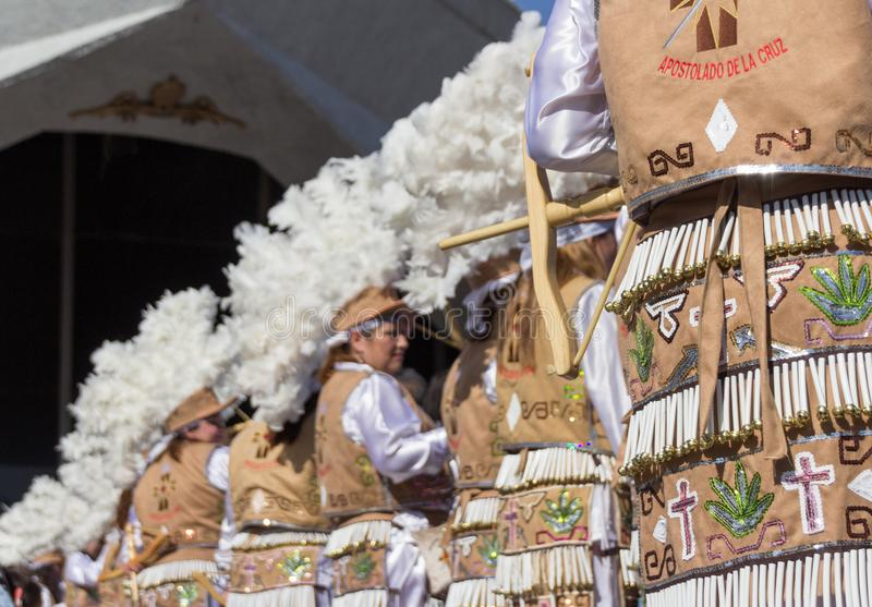 Traditional matachin mexican religious dancers. MONTERREY, NUEVO LEON / MEXICO - 18 12 2017: Mexican traditional matachin dancers in a peregrination to the stock images