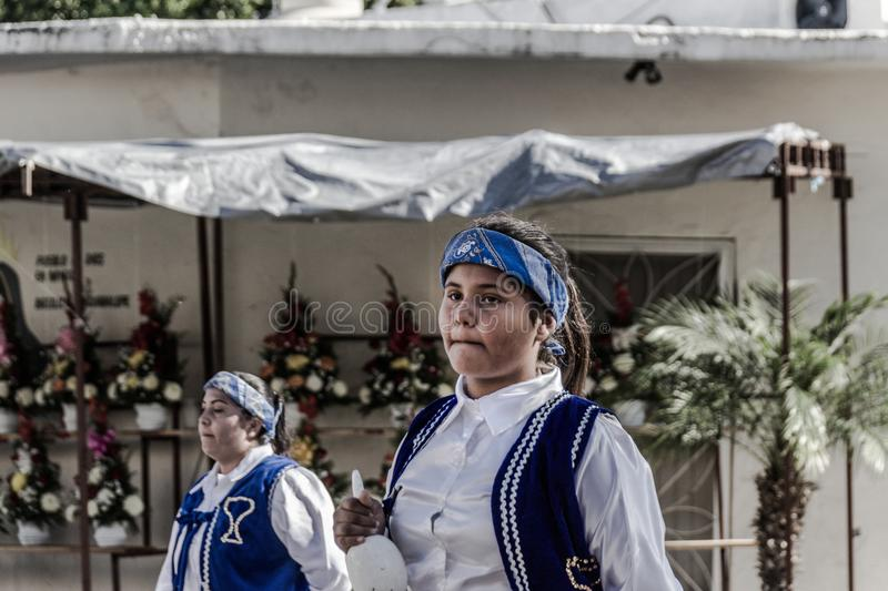 Traditional matachin mexican religious dancers. MONTERREY, NUEVO LEON / MEXICO - 18 12 2017: Mexican traditional matachin dancers in a peregrination to the royalty free stock images