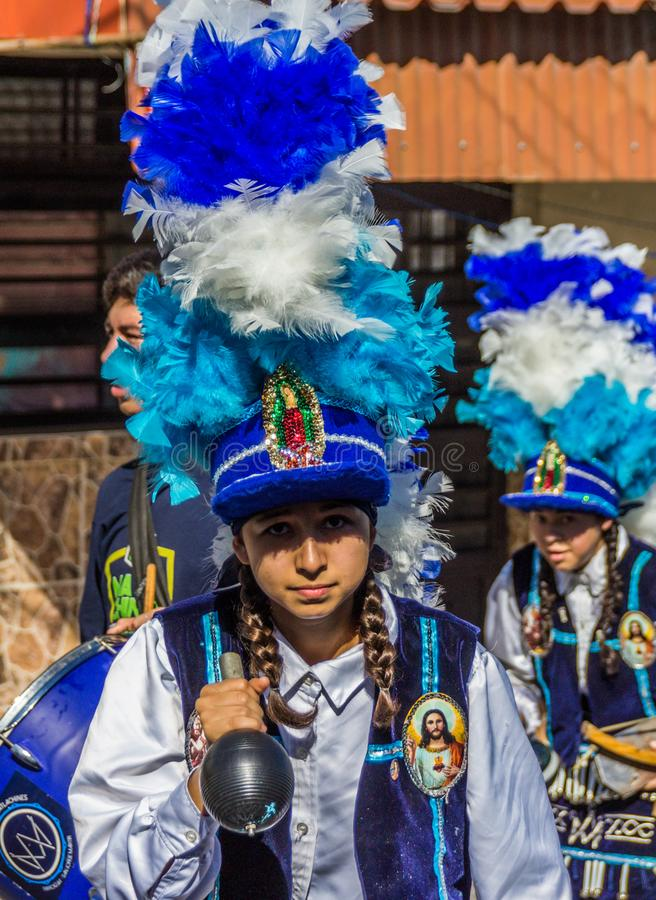Traditional matachin mexican religious dancers. MONTERREY, NUEVO LEON / MEXICO - 18 12 2017: Mexican traditional matachin dancers in a peregrination to the stock image