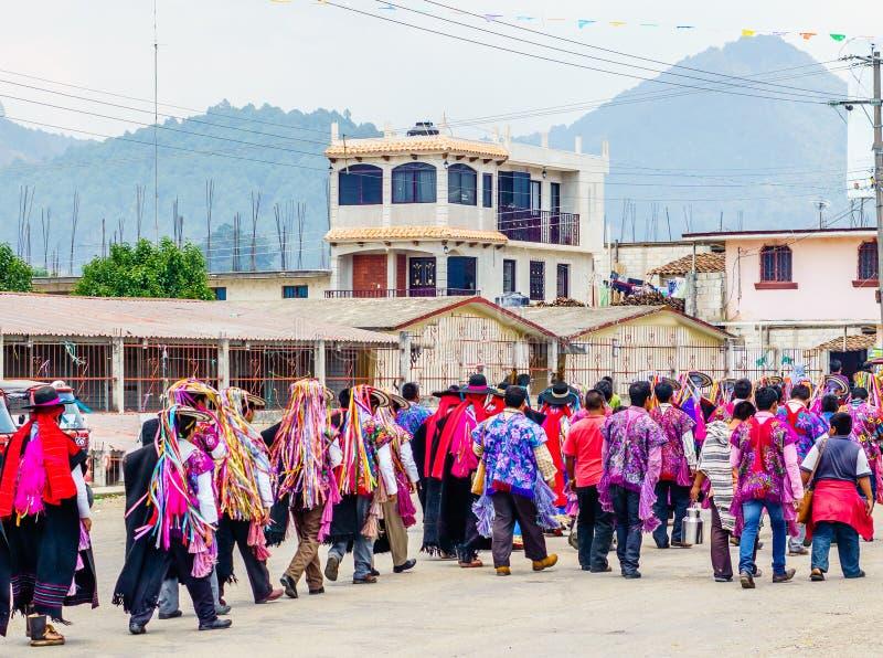 Traditional Maya Procession in Zinacantan by San Cristobal de las Casas in Mexico stock images