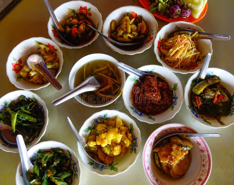 Traditional meal in Bagan, Myanmar royalty free stock images