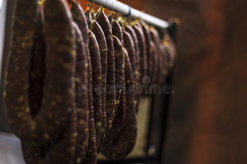 Homemade meat product. Traditional meat production in Southeastern Europe royalty free stock photos