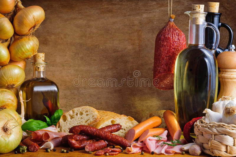Traditional meat and sausages royalty free stock photo