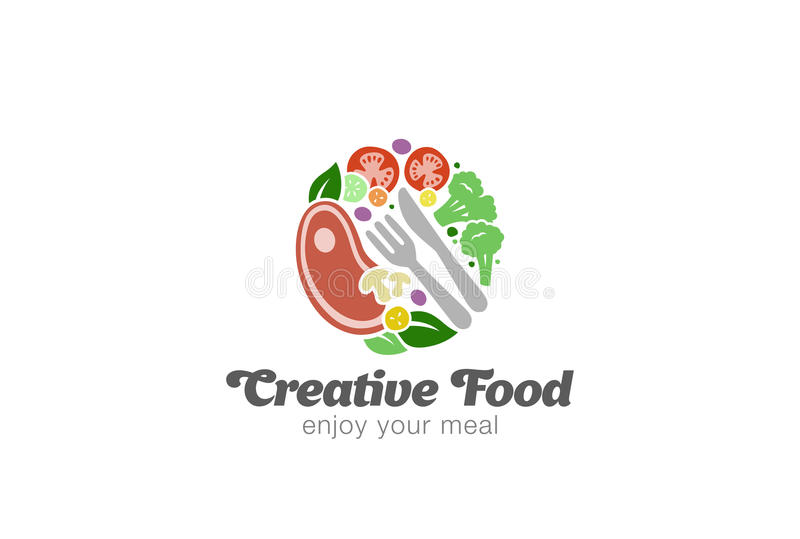 Traditional Meat and Vegetables on Plate Logo design vector royalty free illustration