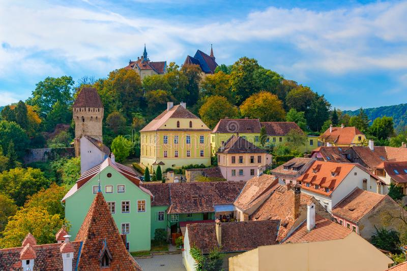 Traditional medieval architecture of Sighisoara royalty free stock image