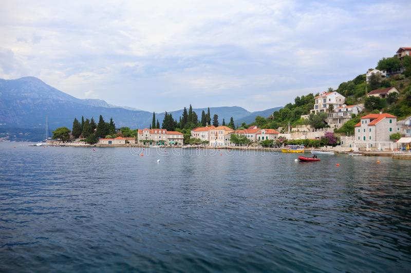Traditional Mediterranean coast with small houses royalty free stock photography