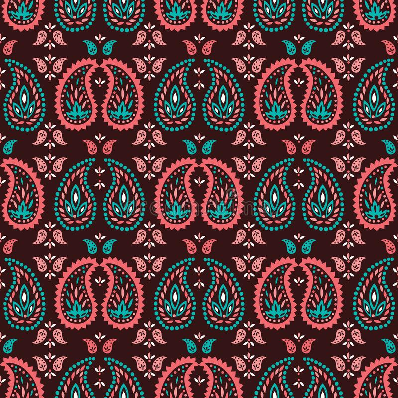 Traditional Medium Scale Colorful Paisley Foulard Vector Seamless Pattern. Oriental Whimsical classic background vector illustration