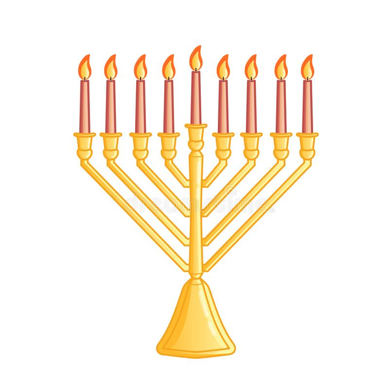 A traditional menorah for the Jewish Hanukkah festival. Color icon isolated on white background. Vector illustration. Usable for d stock illustration