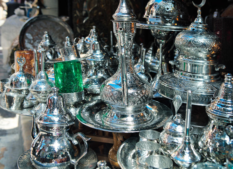 Traditional metal goods in shop in the medina of Tunis. Tunisia stock images