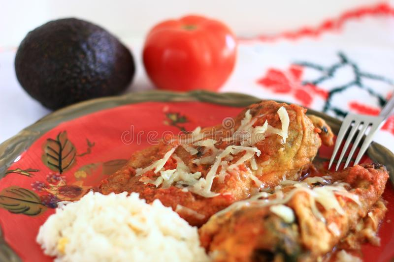 Traditional Mexican Chile Rellenos royalty free stock images