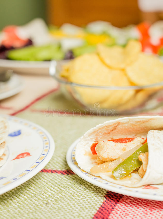 Traditional mexican food with chicken fajita royalty free stock image