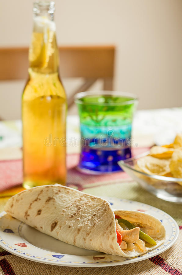 Traditional mexican food with chicken fajita royalty free stock photos