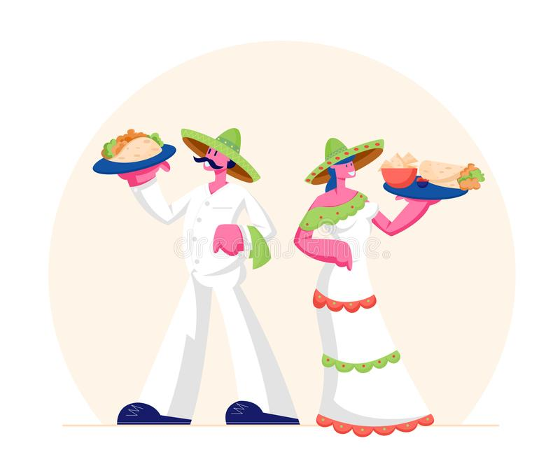 Traditional Mexican Food Concept Man and Woman Wearing Sombrero and Latino Dress Holding Trays with Taco 库存例证