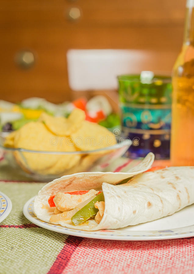 Traditional mexican food with a plate of chicken fajita, fresh s stock images