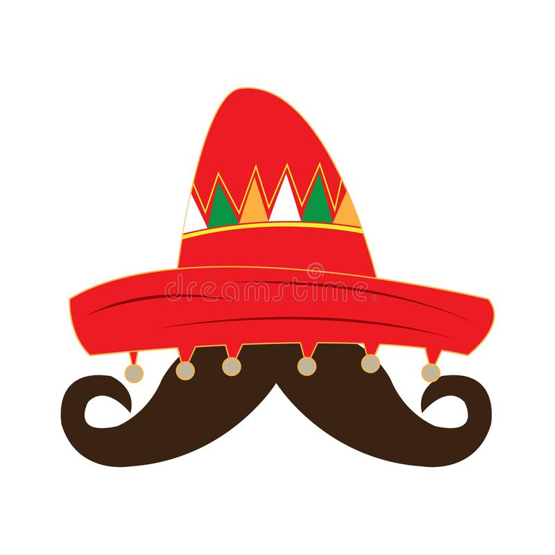 Traditional mexican hat and a mustache. Vector illustration design vector illustration
