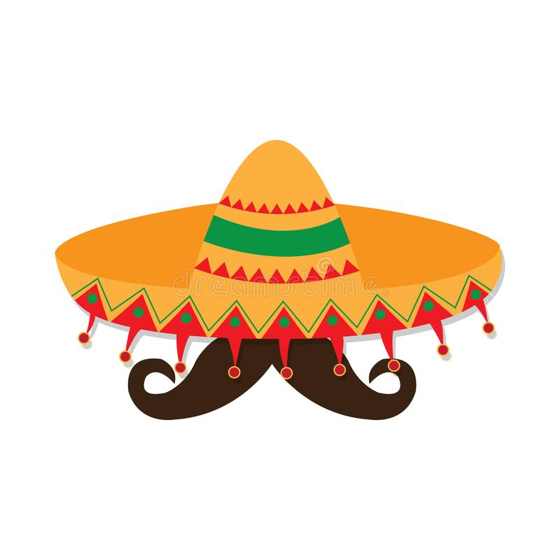 Traditional mexican hat and a mustache. Vector illustration design stock illustration