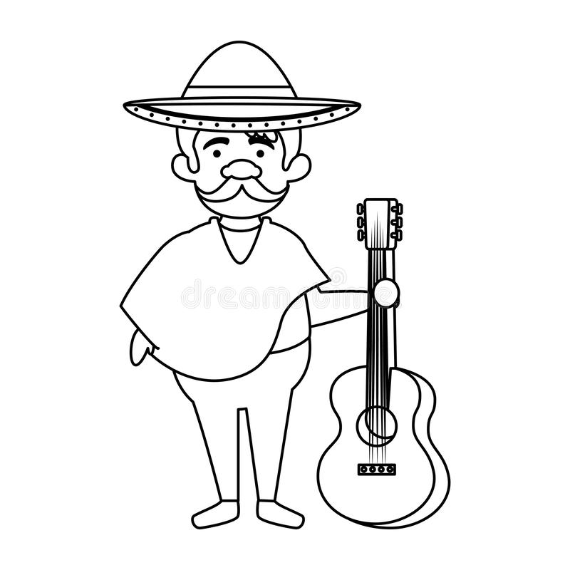 Traditional mexican man with hat and guitar. Vector illustration design vector illustration