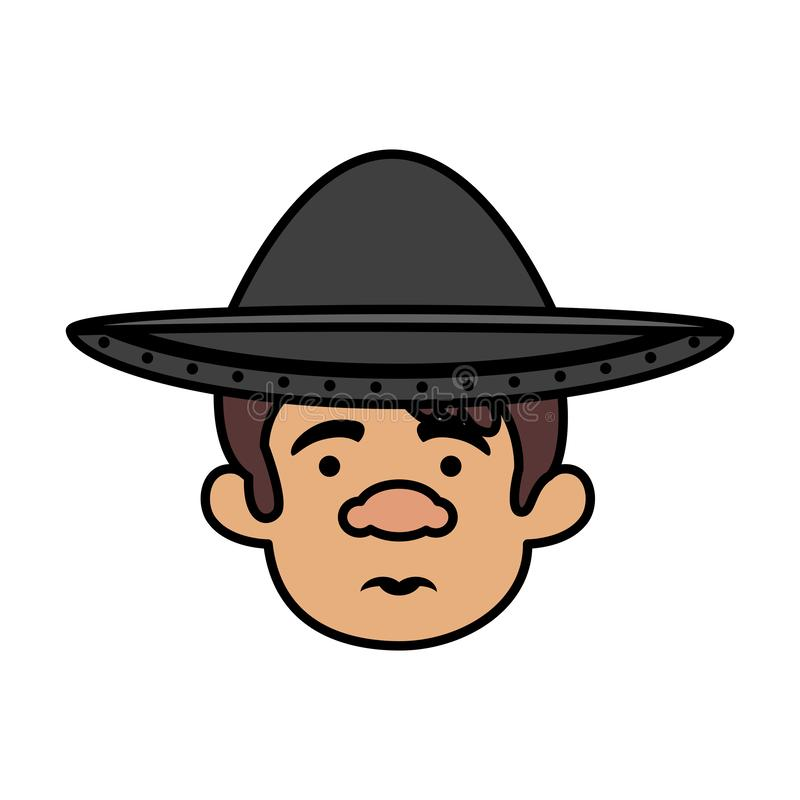 Traditional mexican man head with hat. Vector illustration design stock illustration