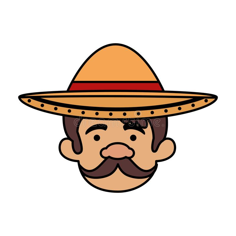 Traditional mexican man head with hat. Vector illustration design royalty free illustration