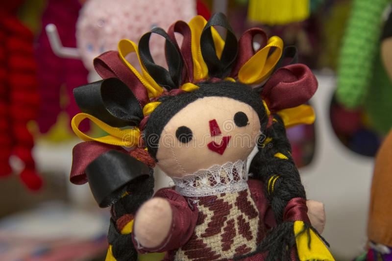 Traditional mexican Maria rag dolls, male and female being sell at downtown Queretaro. Colorful, mexico, toy, souvenir, handmade, folklore, art, culture royalty free stock photo