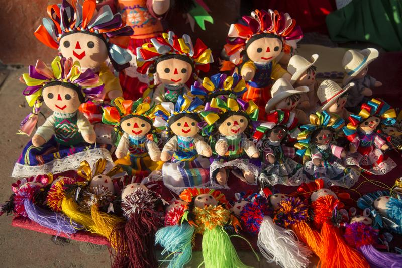 Traditional mexican Maria rag dolls, male and female being sell at downtown Queretaro. Colorful, mexico, toy, souvenir, handmade, folklore, art, culture royalty free stock photography