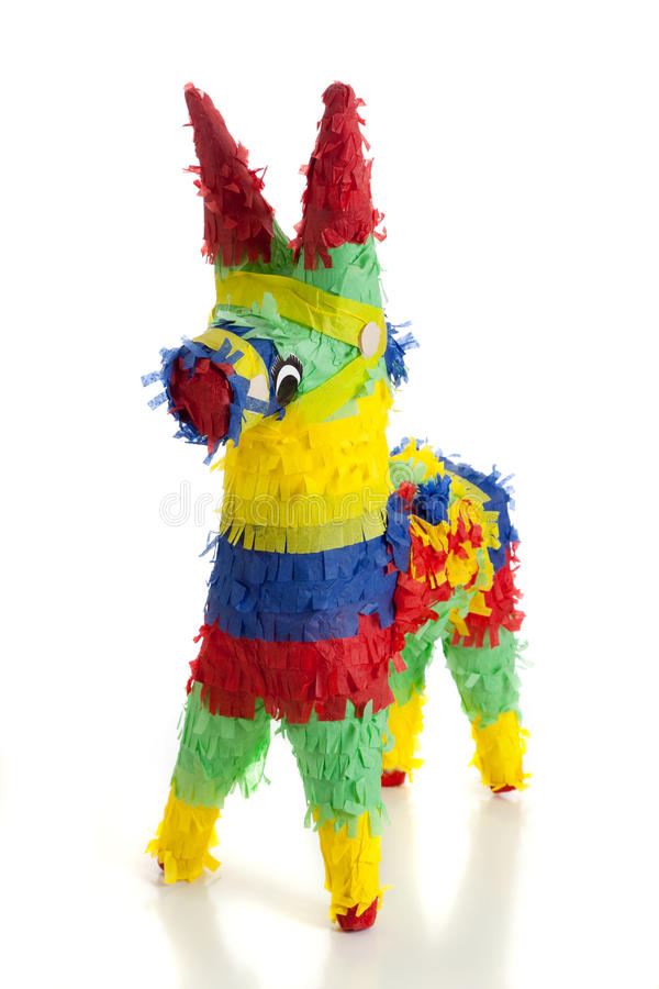 A traditional Mexican Pinata on White. A traditional, primary colored Mexican party pinata on a white background royalty free stock photo