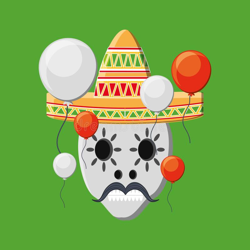 Traditional mexican sugar skull vector illustration