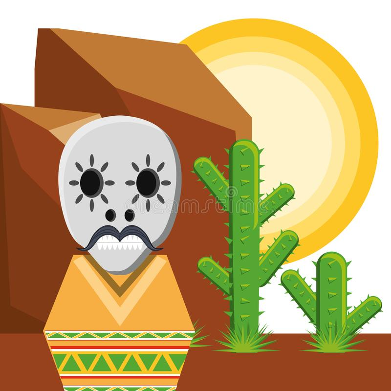 Traditional mexican sugar skull stock illustration