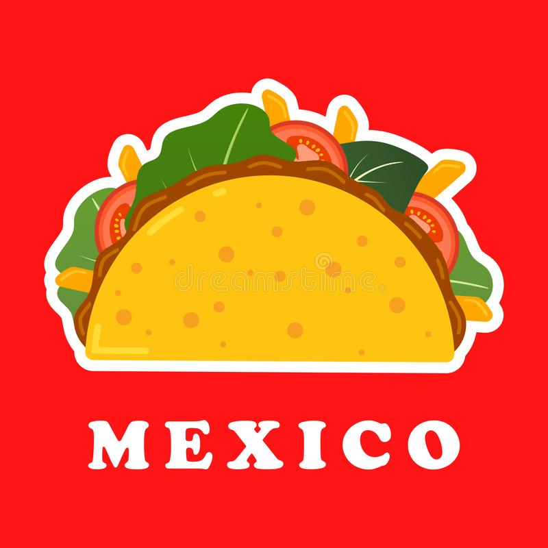 Traditional mexican taco. Spicy delicious tacos with beef or chicken, meat sauce, green salad and red tomato. Taco logo. For restaurant or cafe design. Mexican stock illustration