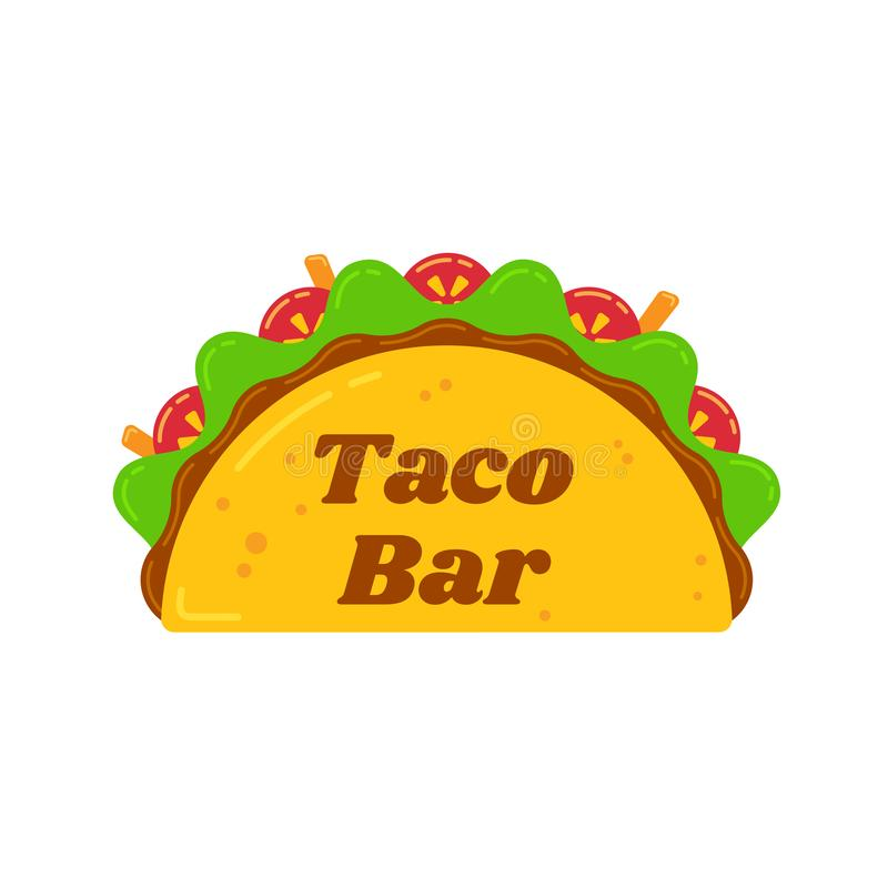 Traditional mexican tacos food bar sign logo stock illustration