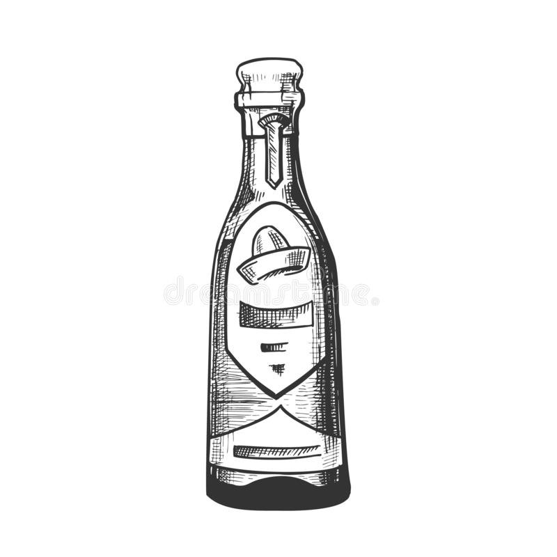 Traditional Mexican Tequila Drink Bottle Vector stock illustration