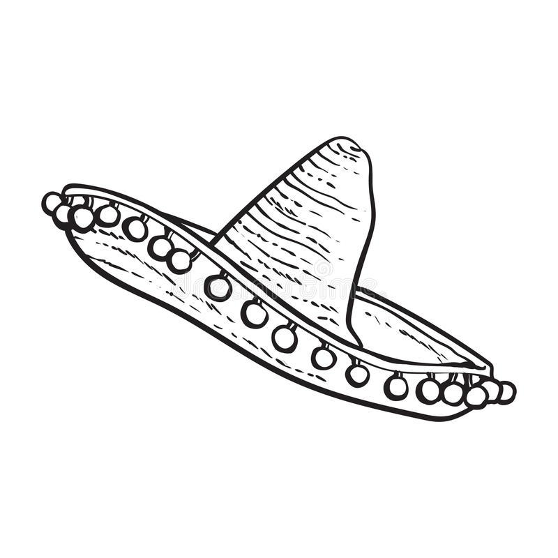 Traditional Mexican wide brimmed sombrero hat. Black and white sketch style vector illustration isolated on white background. Hand drawn Mexican sombrero royalty free illustration
