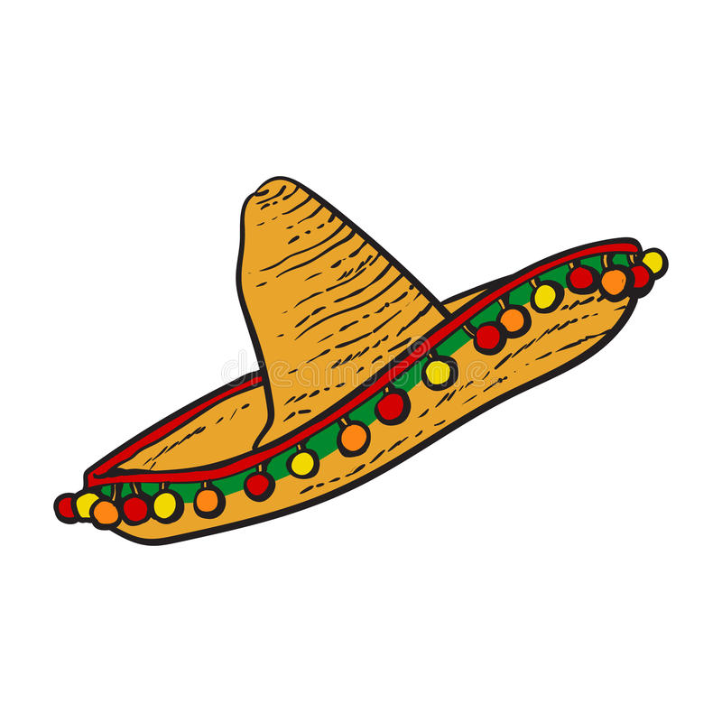 Traditional Mexican wide brimmed sombrero hat. Sketch style vector illustration on white background. Hand drawn Mexican sombrero stock illustration