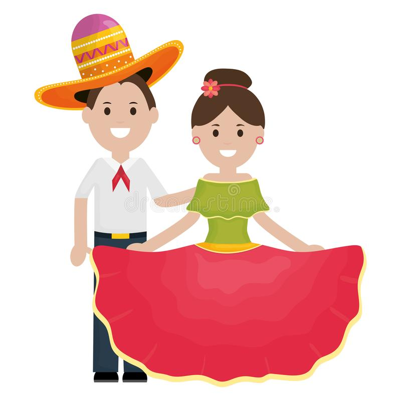 Traditional mexicans couple with mariachi hat characters. Vector illustration design vector illustration