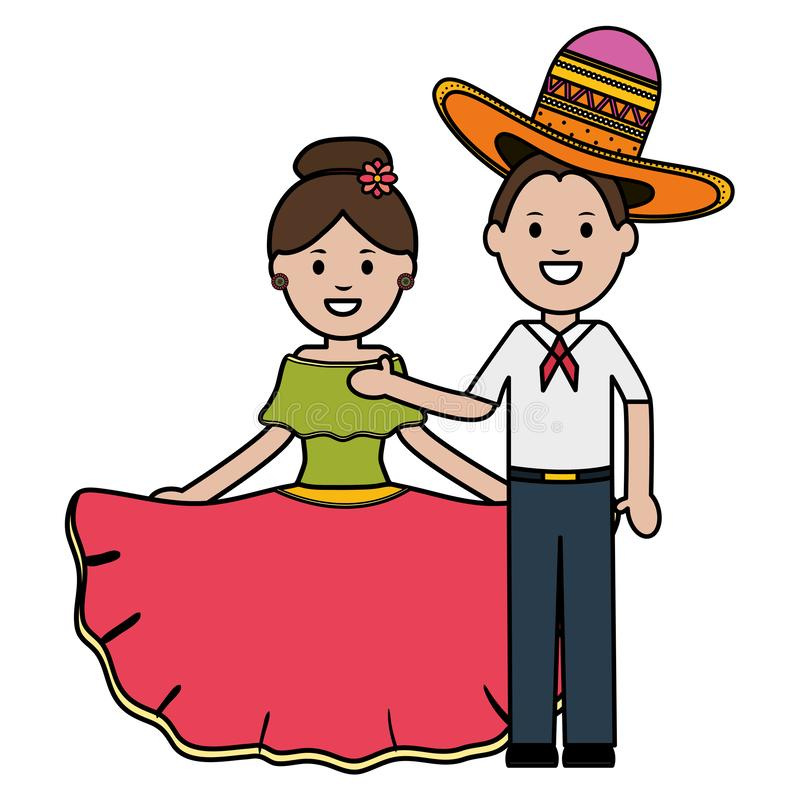 Traditional mexicans couple with mariachi hat characters. Vector illustration design royalty free illustration