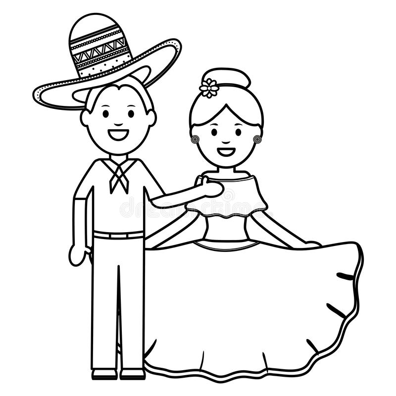 Traditional mexicans couple with mariachi hat characters. Vector illustration design stock illustration