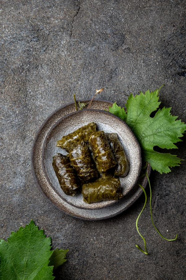 Traditional Middle Eastern dolma or tolma. Grape leaves stuffed with meat and rice. On Gray plate, gray concrete. Background stock images