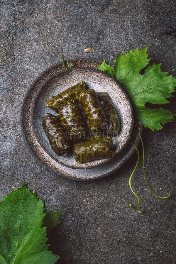 Traditional Middle Eastern dolma or tolma. Grape leaves stuffed with meat and rice. On Gray plate, gray concrete. Background stock image