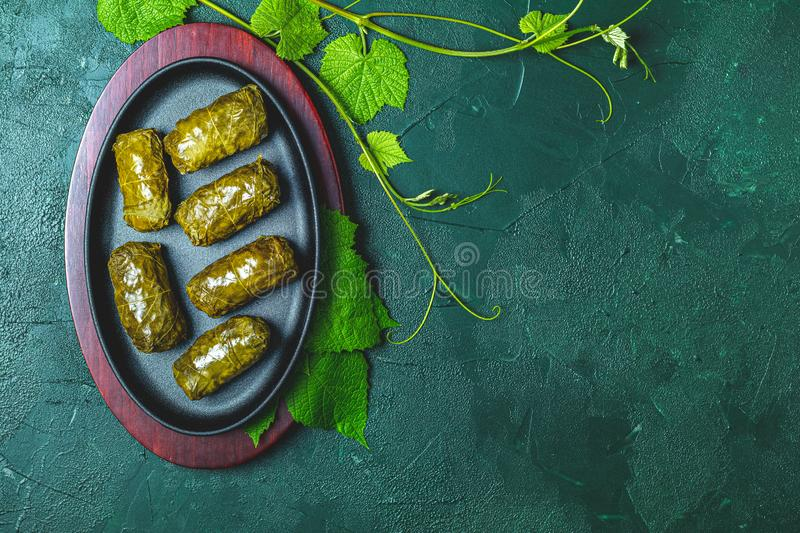 Traditional Middle Eastern dolma or tolma or sarma. Latin American Mexican Chilean cuisine ninos envueltos. Grape leaves stuffed with meat and rice. Lebanon stock images
