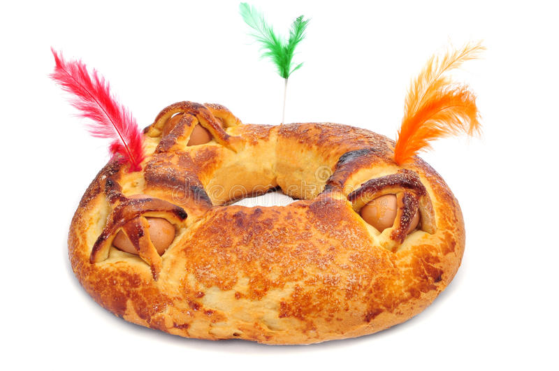 Traditional mona de pascua typical in Spain, a cake with boiled stock photos