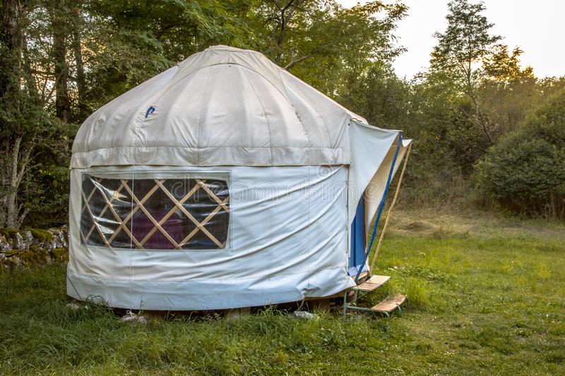 Traditional Mongolian Yurt. This type of shelter is often used as holiday accommodation in Europe royalty free stock photography