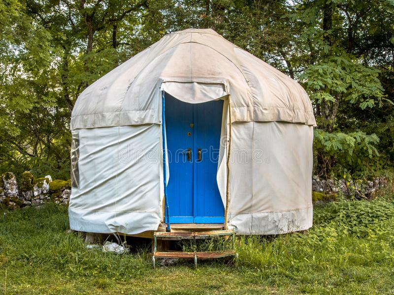Traditional Mongolian Yurt. This type of shelter is often used as holiday accommodation in Europe stock photography