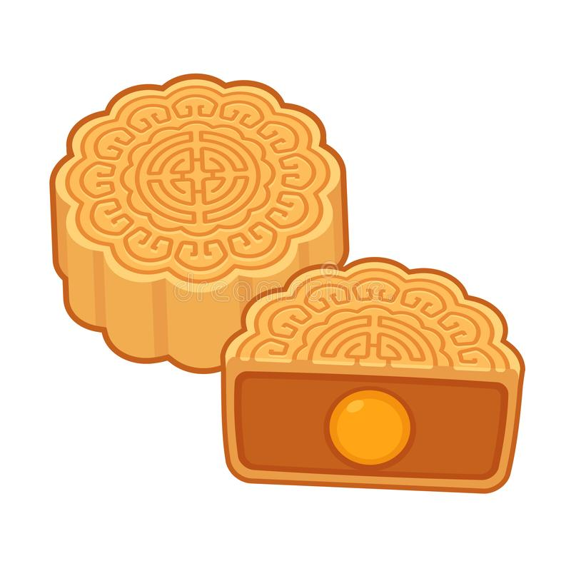 Traditional Mooncake illustration. Moon cake, traditional Chinese round pastry eaten during Mid Autumn Festival. Cartoon mooncake with lotus seed paste filling royalty free illustration