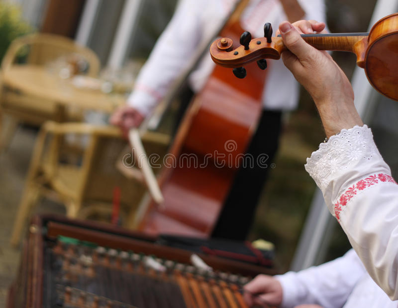 Traditional Moravian cimbalom band. On wedding stock photo