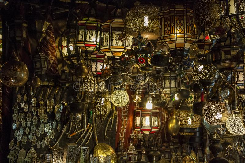 Traditional Moroccan lamps royalty free stock photos